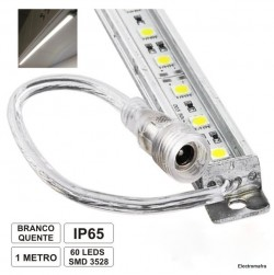 Barra 1mt LED 3528SMD 12 Volts estanque branco quente LLB60AWW